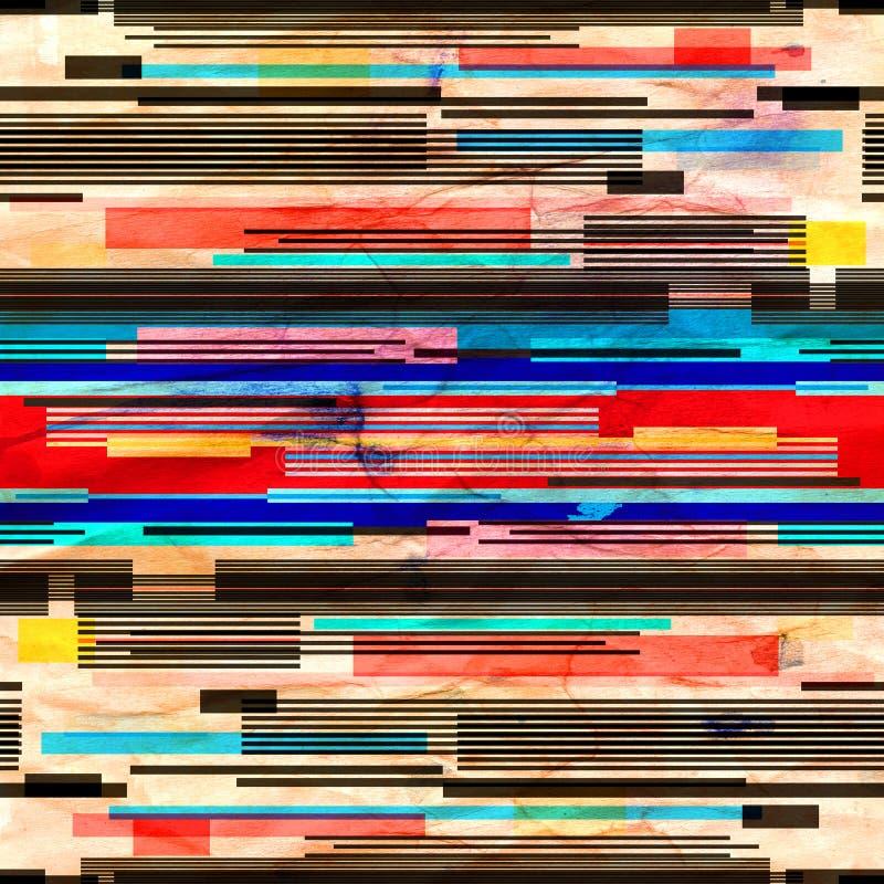 Abstrakcjonistycznej akwareli jaskrawy retro tło z geometrycznymi liniami ilustracji