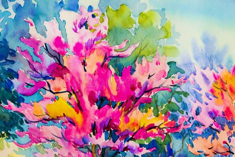Abstrakcjonistycznej akwareli krajobrazowy obraz kolorowy Dzika himalajska wiśnia ilustracja wektor