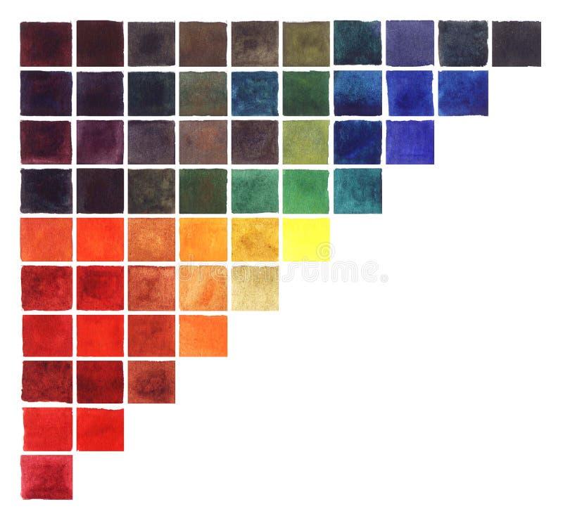 Abstrakcjonistycznej akwareli kwadratów kolorowy trójbok ilustracji
