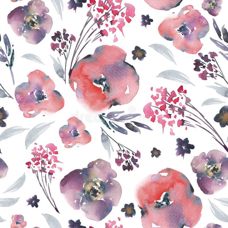 Abstrakcjonistycznej akwareli kwiecisty bezszwowy wzór w losu angeles primy stylu, czerwień kwitnie, kapuje, liście, pączki Ręka  ilustracji