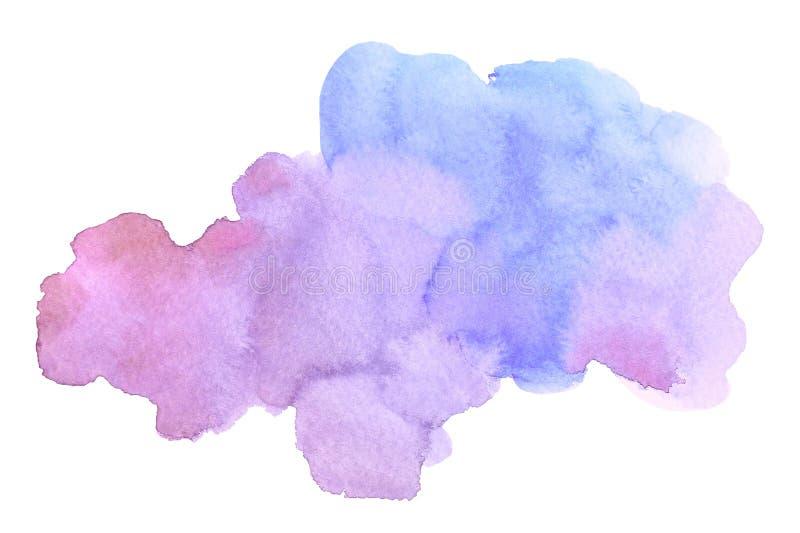 Abstrakcjonistycznej akwareli purpur muśnięcia błękitny uderzenie z plamami na białym tle royalty ilustracja