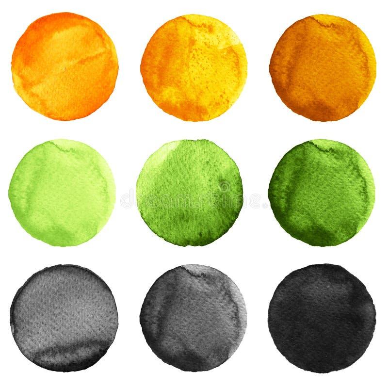 Abstrakcjonistycznej akwareli round malujący tła pomarańczowi, krople błękitny, żółty, czerń barwią ilustracji