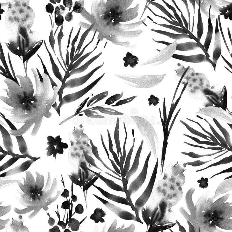 Abstrakcjonistycznej akwareli wzoru kwieciści bezszwowi kwiaty, gałązki, leav ilustracja wektor