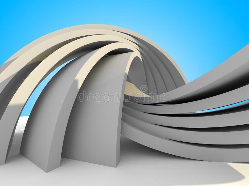 Abstrakcjonistycznej architektury futurystyczny budynek Na nieba tle ilustracja wektor