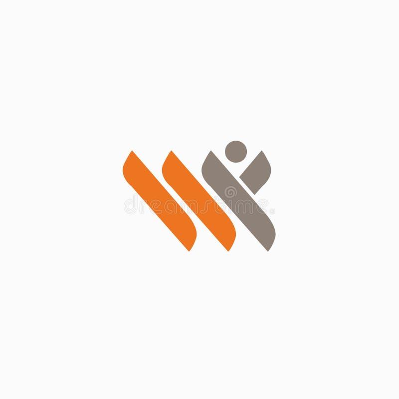 Abstrakcjonistycznej atleta loga ikony wektorowy projekt Gym, sport gry, sprawność fizyczna, biznes, trenera wektoru logo ilustracja wektor