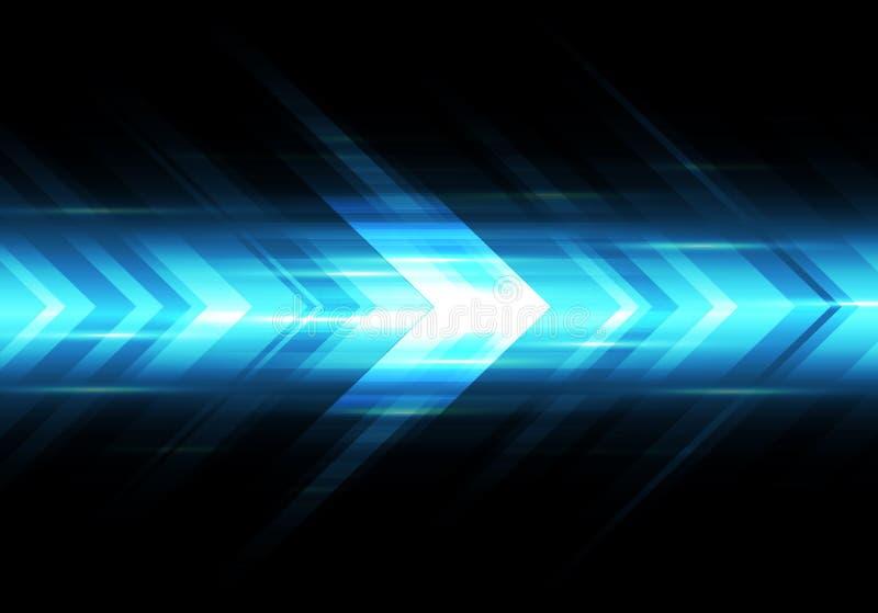 Abstrakcjonistycznej błękita światła prędkości władzy strzałkowatej technologii tła futurystyczny wektor royalty ilustracja