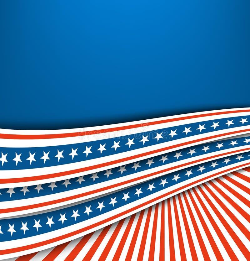 Abstrakcjonistycznej błękitnej białej czerwonej falowanie faborku flaga Patriotyczna fala, wektorowy dzień niepodległości ilustracji