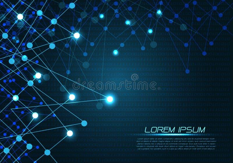 Abstrakcjonistycznej błękitnej technologia wieloboka linii lekka kropka na numerowym dane wzoru graficznego projekta wektorze royalty ilustracja