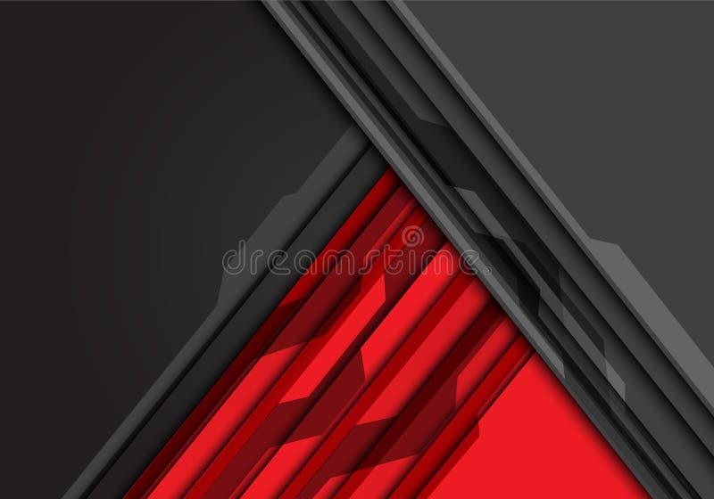 Abstrakcjonistycznej czerwieni popielaty trójbok z obwodu wzorem i pustym astronautycznego projekta technologii tła nowożytnym fu ilustracja wektor