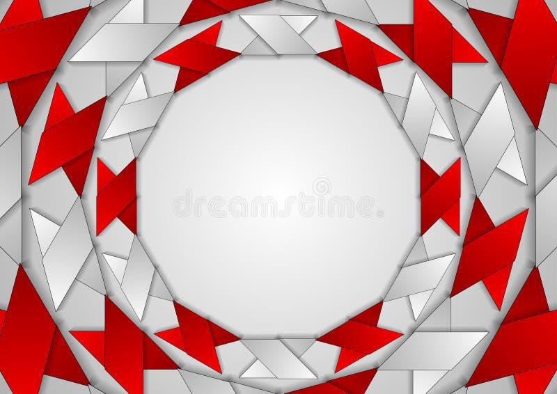 Abstrakcjonistycznej czerwieni round popielaty korporacyjny wzór royalty ilustracja