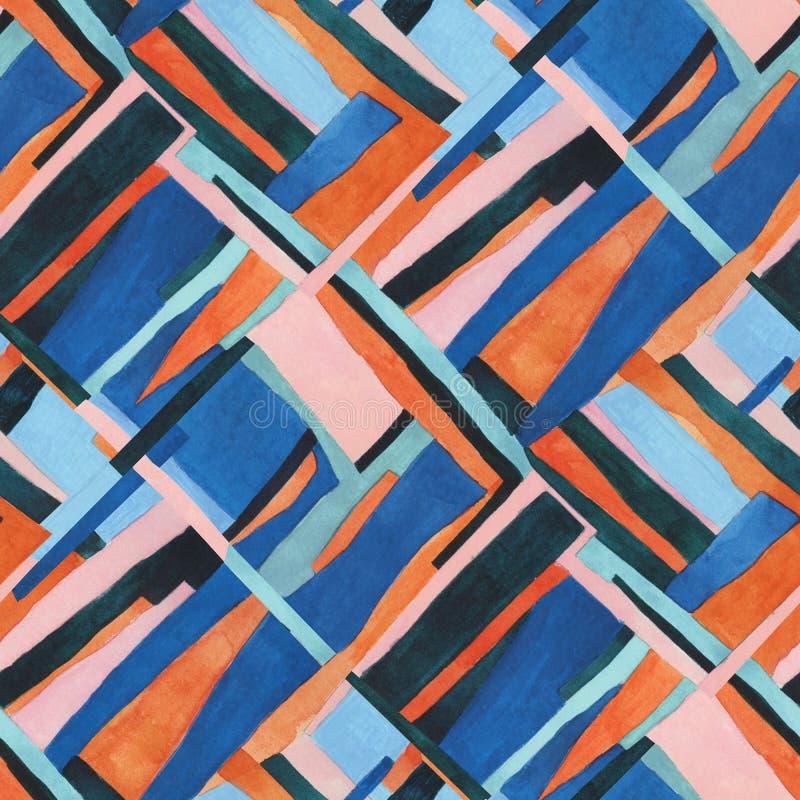 Abstrakcjonistycznej dzisiejszej ustawy bezszwowy wzór Watercolour kolażu geometryczna ilustracja ilustracja wektor