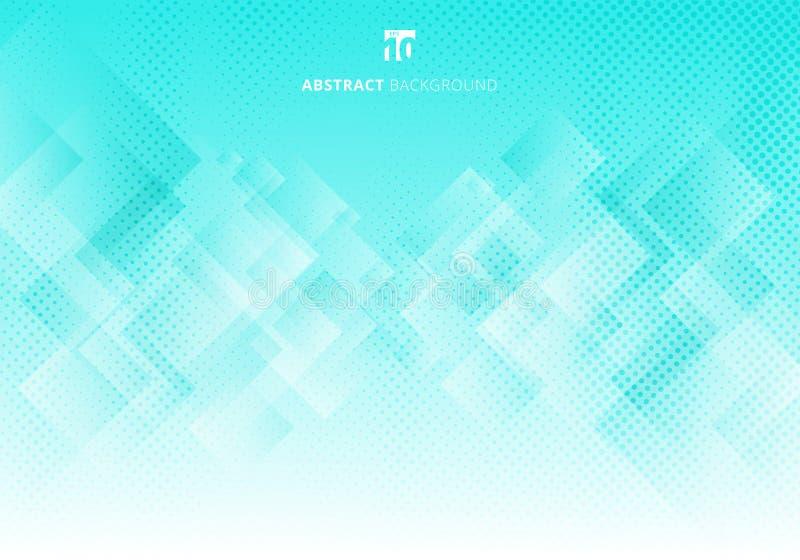 Abstrakcjonistycznej eleganckiej kwadratów kształtów narzuty deseniowej warstwy biały i zielony geometryczny gradientowy koloru t ilustracja wektor