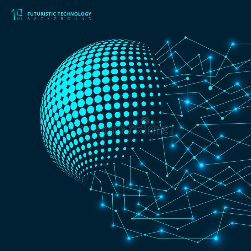 Abstrakcjonistycznej futurystycznej technologii sieci niebieskich linii geometryczny digi ilustracji