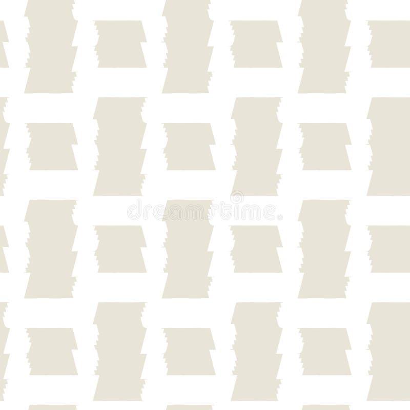 Abstrakcjonistycznej geometrycznej szkockiej kraty wektoru bezszwowy wzór śmiałe linie z strzępiastą krawędzią na beżowym tle ilustracja wektor