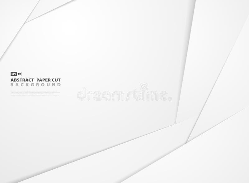 Abstrakcjonistycznej gradientowej białej księgi kształta wzoru projekta rżnięty tło ilustracja wektor