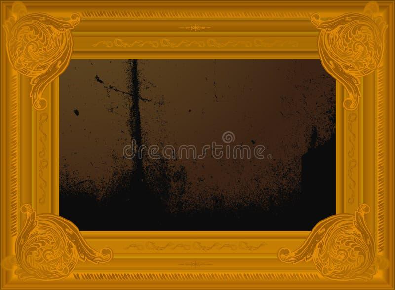 abstrakcjonistycznej granicy ramy złoty stary obraz royalty ilustracja