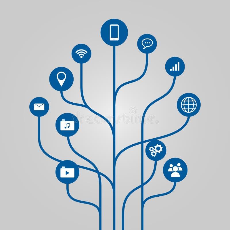 Abstrakcjonistycznej ikony drzewna ilustracja - telefonu, komunikaci i technologii pojęcie, ilustracji
