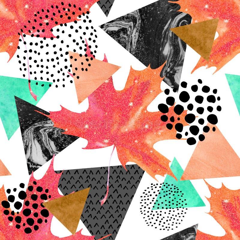 Abstrakcjonistycznej jesieni geometryczny bezszwowy wzór ilustracja wektor