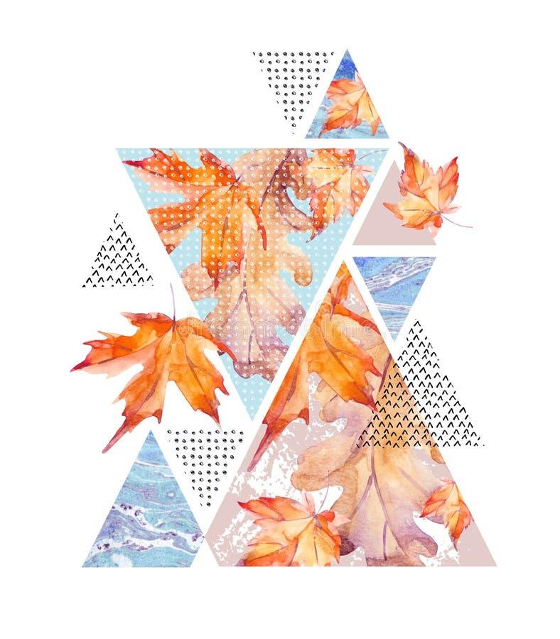 Abstrakcjonistycznej jesieni geometryczny plakat ilustracji