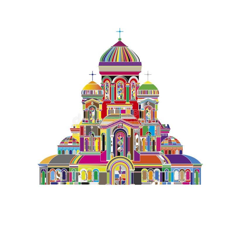 Abstrakcjonistycznej Katedralnej ortodoksyjnego kościół budynku punktu zwrotnego świątynnej turystyki światowe religie i sławnej  ilustracja wektor