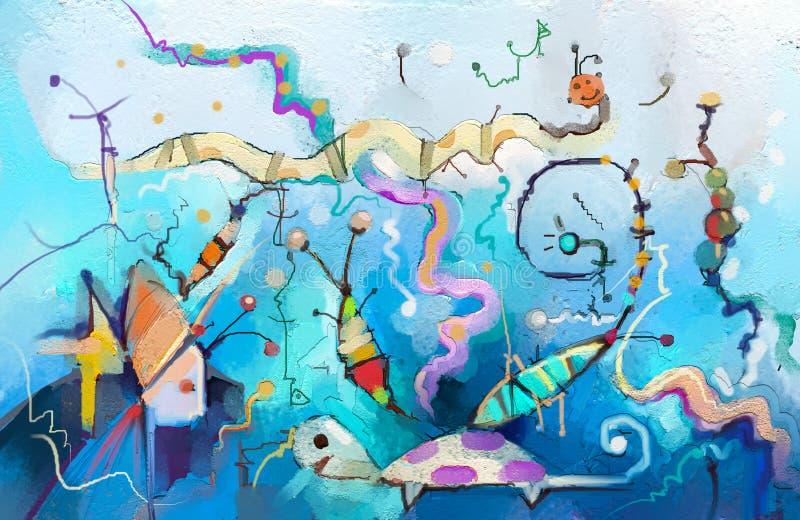 Abstrakcjonistycznej kolorowej fantazi podwodny obraz olejny ilustracji