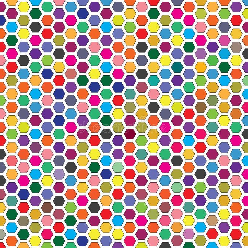 Abstrakcjonistycznej Kolorowej Geometrycznej Grzebieniowej sześciokąt siatki przedmiota tła Wektorowy wzór royalty ilustracja