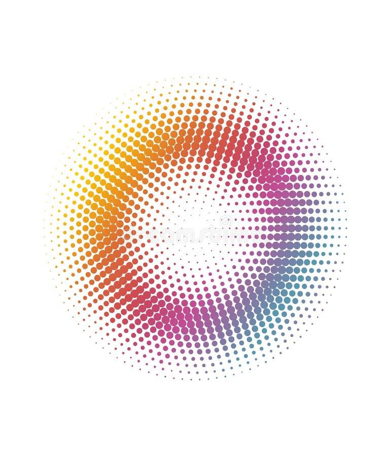 Abstrakcjonistycznej kolorowej t?czy okr?gu kropek wzoru halftone t?o ilustracji