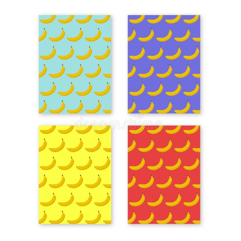Abstrakcjonistycznej kolorowej ulotki lub książkowej pokrywy projekta set z banana wzoru tłem ilustracji