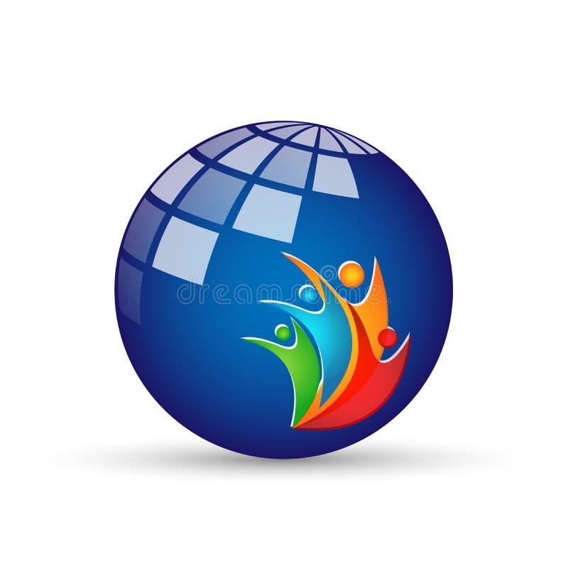 Abstrakcjonistycznej kuli ziemskiej światowi kolorowi ludzie donoszą wellness logo ikony elementu pojęcia wektorowe ilustracje na ilustracji