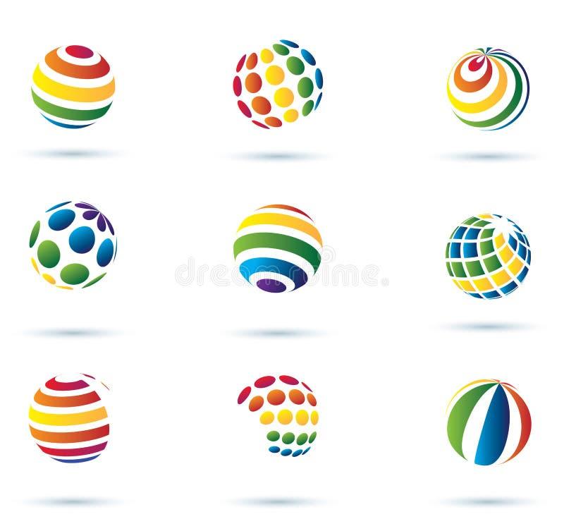 Abstrakcjonistycznej kuli ziemskiej abstrakcjonistyczne ikony ilustracji
