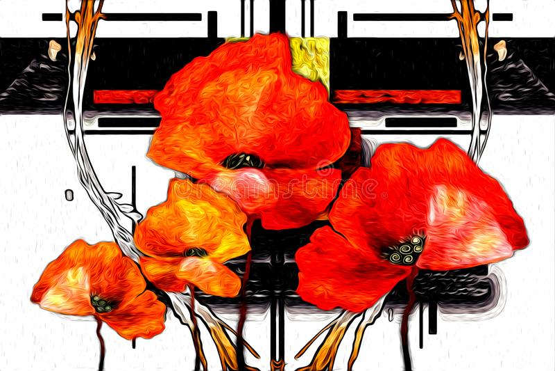 Abstrakcjonistycznej kwiatu obrazu olejnego zabawy sztuki ilustracyjny projekt ilustracja wektor