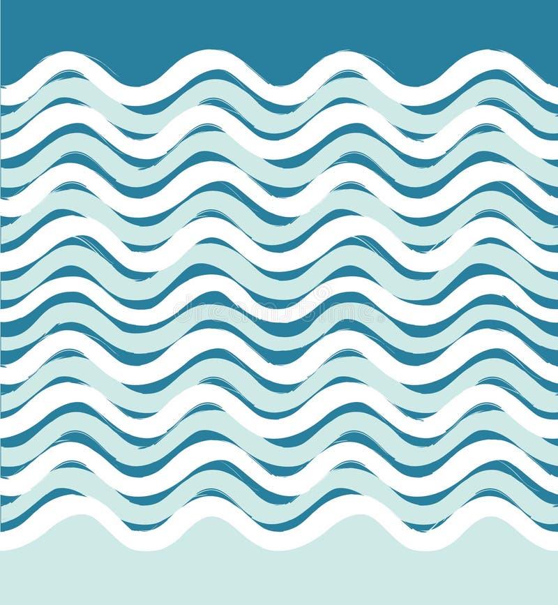 Abstrakcjonistycznej morze fala bezszwowy wzór Falisty lampasa tło ilustracji