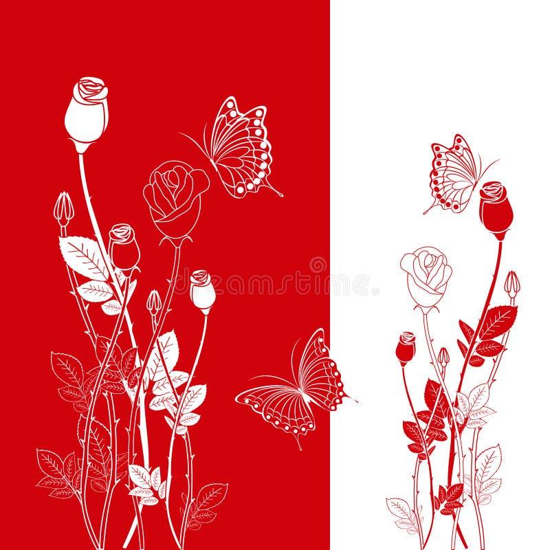 abstrakcjonistycznej motyliej czerwieni różana wiosna ilustracja wektor