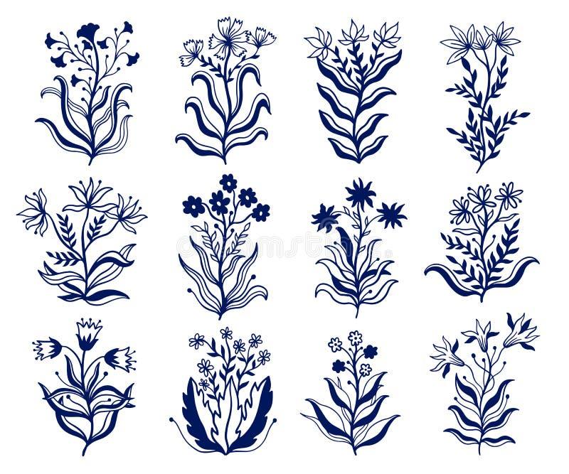 Abstrakcjonistycznej natury ustalona inkasowa r?ka rysuj?ca Błękitny kolor w białym tle Etniczny ornament, kwiecisty druk, teksty ilustracji