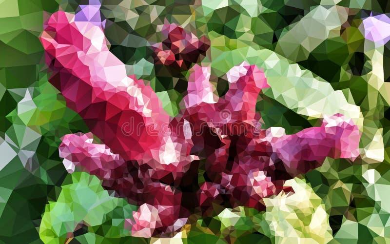 Abstrakcjonistycznej niskiej wielobok czerwieni i zielonego koloru tapeta obrazy stock