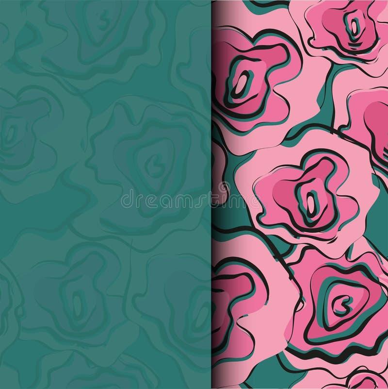 Abstrakcjonistycznej obraz ogólnoludzkiej freehand akwareli bezszwowy wzór z kwiatami Graficzny projekt dla tła, karta, sztandar, royalty ilustracja