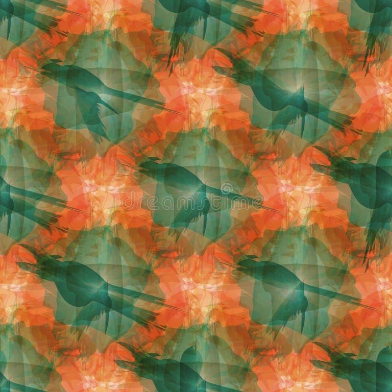 Abstrakcjonistycznej obraz ogólnoludzkiej freehand pomarańczowej akwareli bezszwowy wzór Graficzny projekt dla tła, karta, sztand royalty ilustracja
