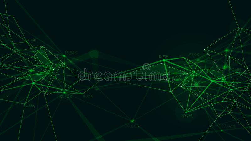 Abstrakcjonistycznej plexus struktury podłączeniowy pojęcie, futurystyczny technologiczny tło ilustracja wektor