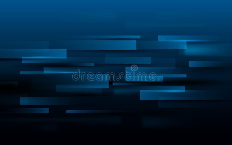 Abstrakcjonistycznej prostokąt technologii techniki cyfrowy pojęcie na zmroku cześć - błękitny tło royalty ilustracja