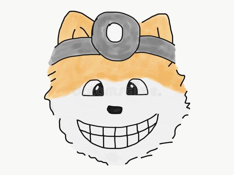 Abstrakcjonistycznej ręka remisu nakreślenia doodle lekarki uśmiechu pomeranian psia twarz odizolowywa, ilustracja, akwareli farb ilustracja wektor