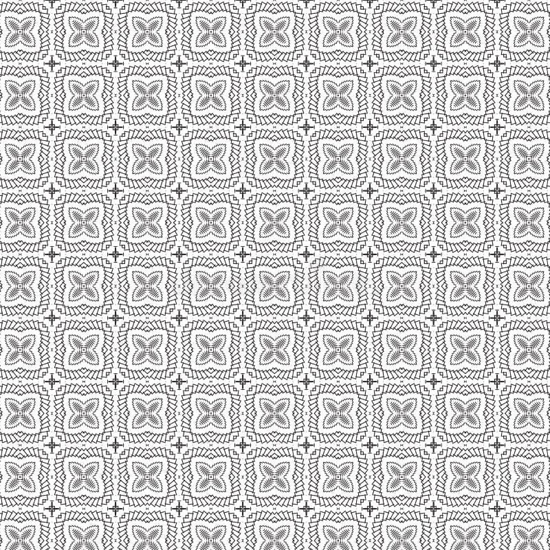 Abstrakcjonistycznej remisu ornamentu kwiatów liści Kwiecistej siatki tła wektoru Bezszwowa Deseniowa ilustracja ilustracja wektor