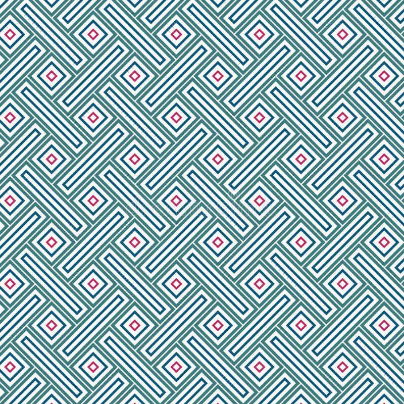 Abstrakcjonistycznej Retro rocznika prostokąta szkockiej kraty kwadrata siatki Antycznej Kolorowej komórki Bezszwowy wzór ilustracja wektor