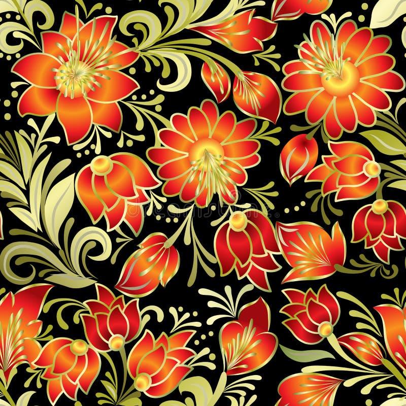 Abstrakcjonistycznej rocznik bezszwowej wiosny kwiecisty ornament odizolowywający na b ilustracja wektor