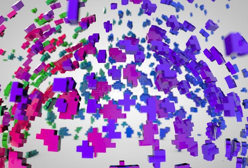 Abstrakcjonistycznej sfery polygones wybuchu kolorowy tło zdjęcie stock