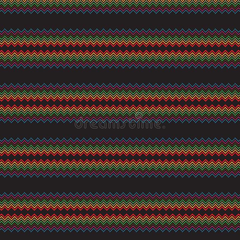 Abstrakcjonistycznej skrobaniny Pasiasty Czarny Ciemny Etniczny Rodzimy Bezszwowy Deseniowy tło royalty ilustracja
