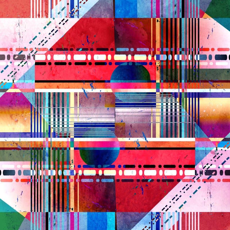 Abstrakcjonistycznej super pięknej akwareli jaskrawy retro tło ilustracja wektor