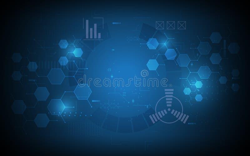 Abstrakcjonistycznej sześciokąt technologii innowaci pojęcia komputerowy tło ilustracja wektor