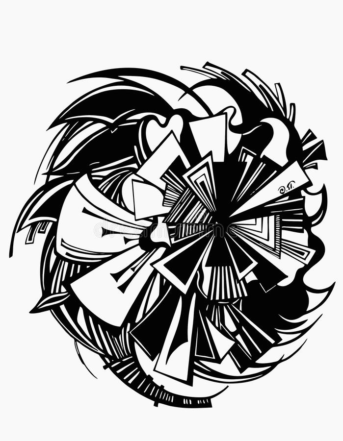 Abstrakcjonistycznej sztuki graficzny czarny i biały liniowy obraz royalty free