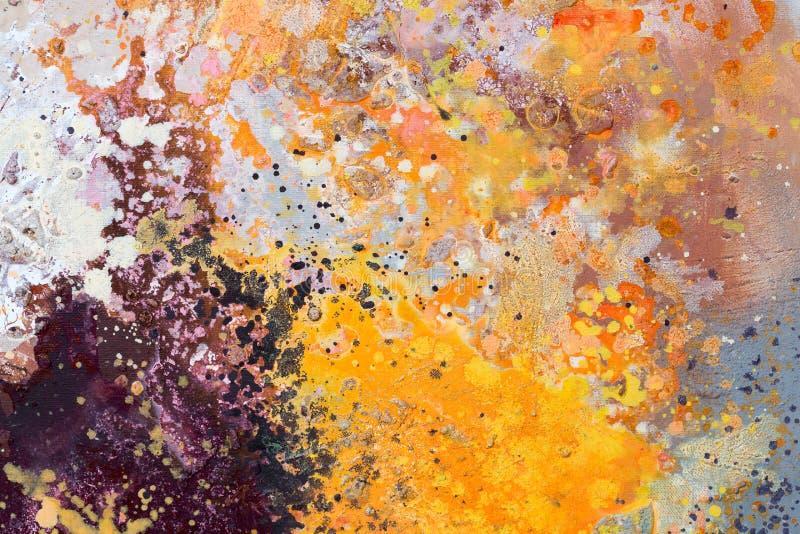 abstrakcjonistycznej sztuki kanwy r?ka maluj?ca Artysta nafcianych farb zbli?enia abstrakta stubarwny t?o obrazy stock