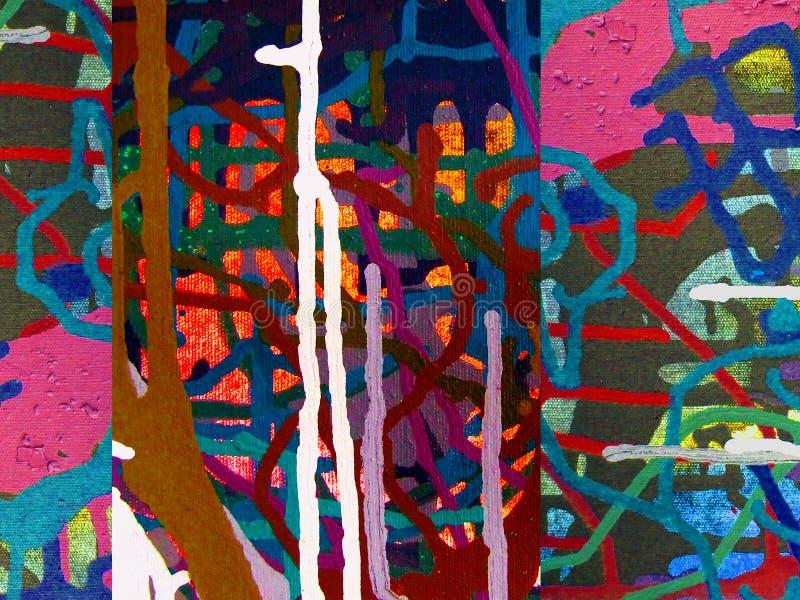 Abstrakcjonistycznej sztuki koloru akrylowy obraz na kanwie kolorowy tło ilustracji